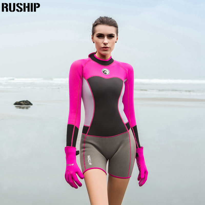 SEAC 1.5mm women neoprene wetsuit Elastic colour Surf Diving Equipment suit clothing long-sleeved one piece Tight Warm surfing