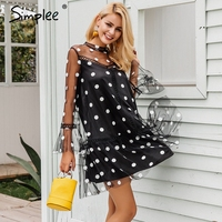 Simplee Transparent Mesh Mini Sexy Dress Women 2017 Autumn Winter Flare Sleeve Dot Short Dress Black
