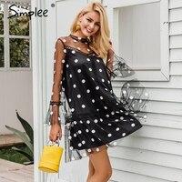 Simplee Transparent Mesh Mini Sexy Dress Women 2017 Autumn Winter Flare Sleeve Dot Short Dress Black
