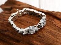 Thai Silver Genuine 925 Silver Mens Jewelry Bracelet For Men Male Punk style double leopard head retro vintage bracelet
