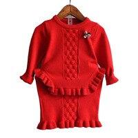 2017 Girls Clothing Set Autumn New Fashion Sweet Knitted Sweater Dress 2pcs Children Clothing Baby Girls