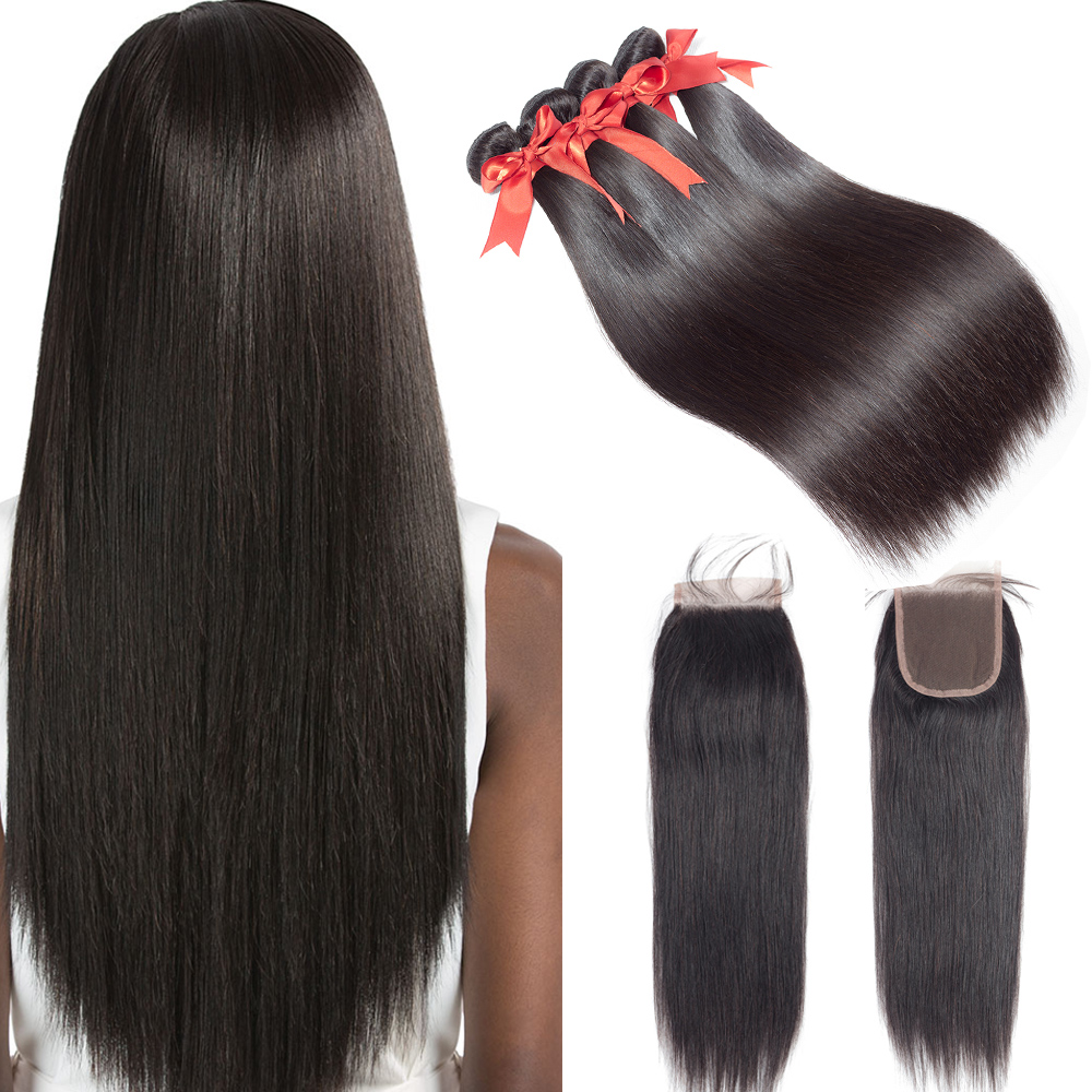 Grade 8A Peruvian Straight Hair 3Bundles With Closure 4*4 Swiss Lace Closure With Unprocessed Human Hair Bundles With Closure