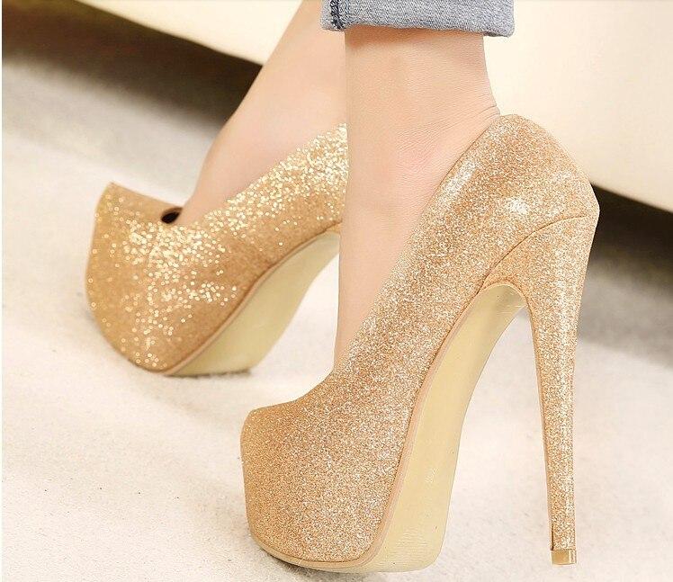 Platform Pumps Women High Heeled Gold Color Plus Size 40 41 42 43