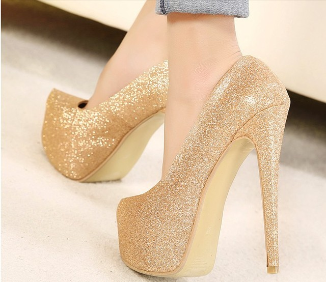 Aliexpress.com : Buy platform pumps women high heeled gold color ...