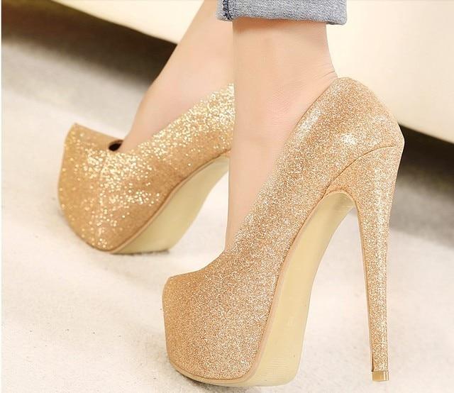 Gold Colored Heels - Qu Heel
