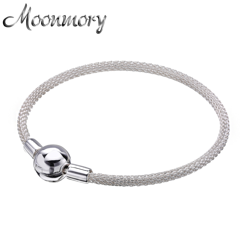 Moonmory Europe Bracelet Original 925 Sterling Silver White Woven Bracelet With Clasp Fits For Women Bangles Christmas Gifts