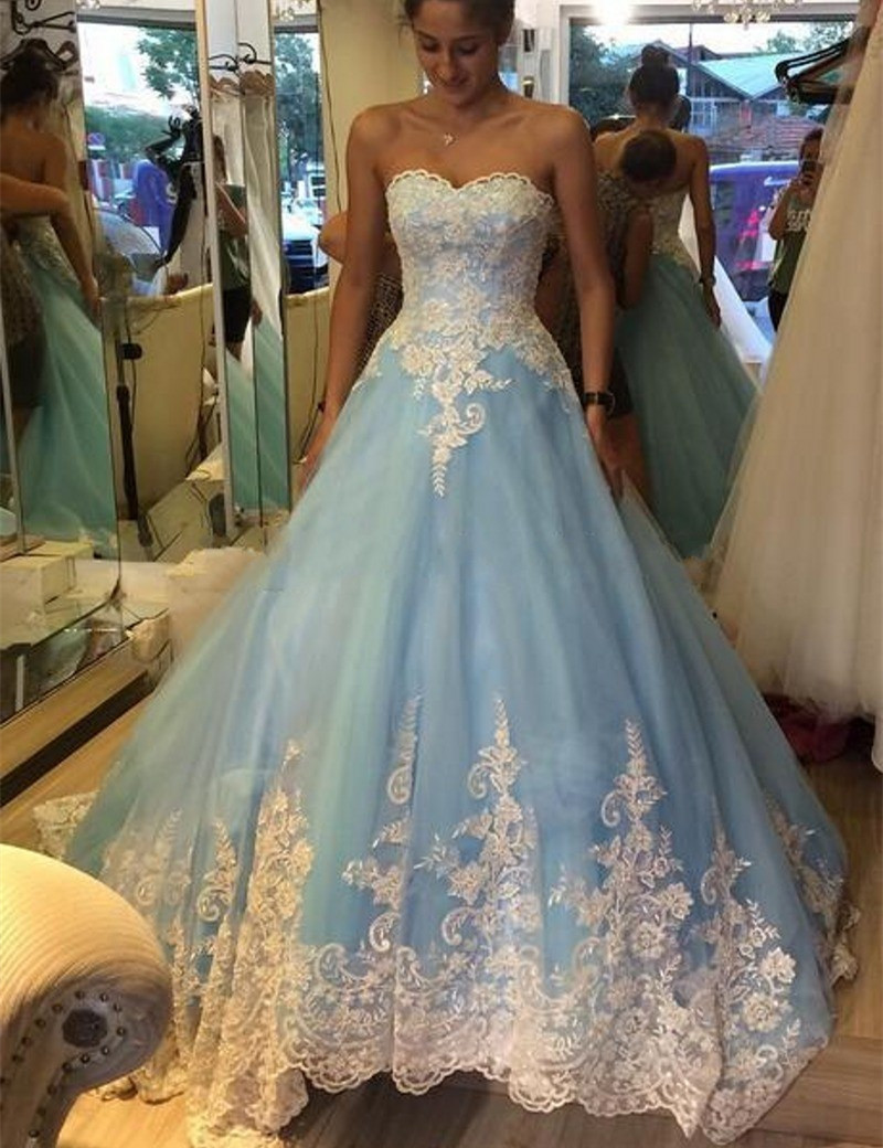 Light Blue Ball Gown Wedding Lace