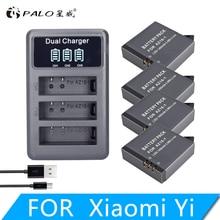 4Pcs 1400mAh 3.85V Battery AZ16-1 + LED USB 3slots Charger for Xiaomi Yi 2 4K Original Xiao Mi Lite Action Cameras