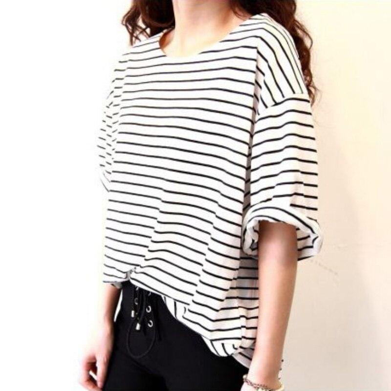 Summer Women Loose T Shirt Casual Loose Striped Black -1820