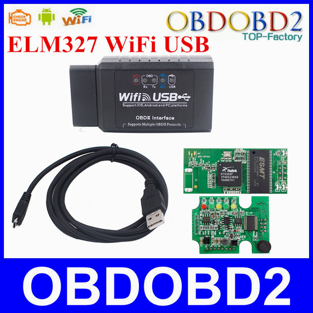 A+++Quality ELM327 USB WIFI For iOS/Android Torque and PC Platforms OBDII Interface ELM WI-FI Suppots Multiple OBDII Protocols