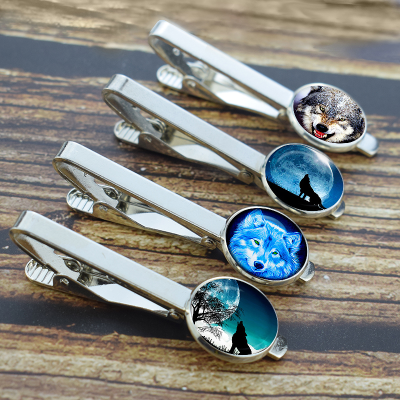 Men Classic Silver Metal Tie Clips Wolf Print Glass Dome Wedding Tie Pins Suit Accessories