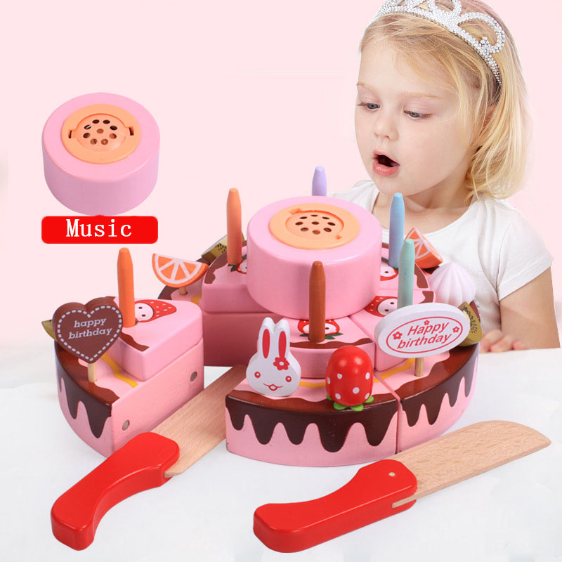 Baby Toys Simulation Magnetic Cake Wooden Set Pretend Play Kitchen Food Infant Birthday Christmas Gift