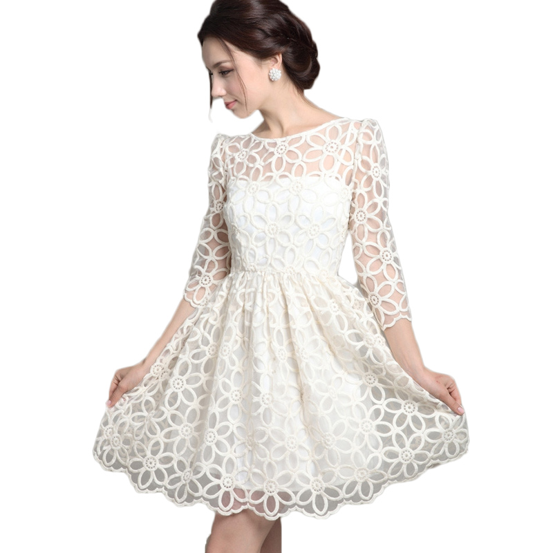 Aliexpress.com : Buy Spring Elegant Sheer Embroidery Casual Lace ...