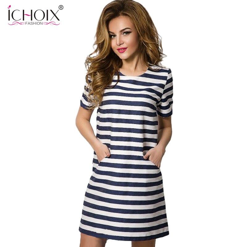 Ichoix 2017 nuevas mujeres rayas dress vestidos de verano casual ropa de mujer b