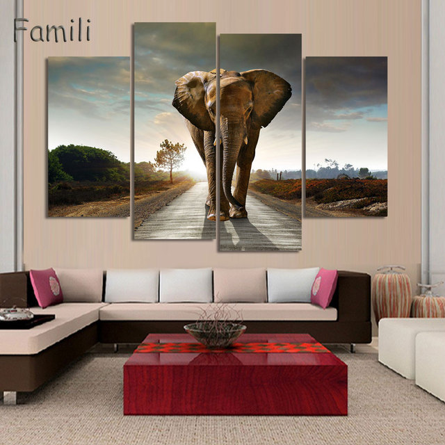 4Pcs/set Animal Art Children Living Room Decoration African Elephants  Canvas Printed Painting Wall Hanging