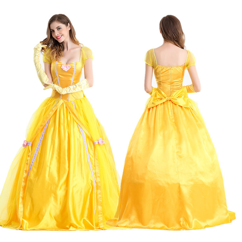 Beauty and the Beast Costumes Women Adult Belle Dresses Party Fancy Girls Flower Long Cinderella Princess Female Anime Cosplay