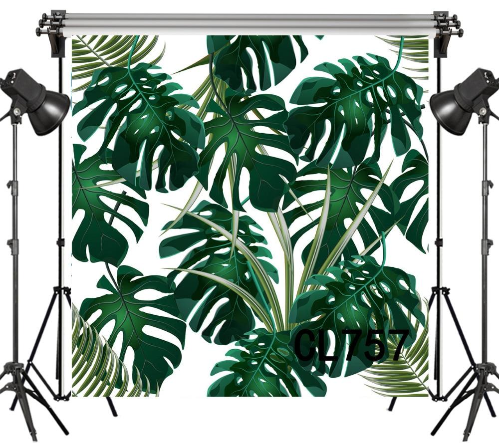 LB Vinyl Photography Backdrop For Studio Photo Props Photographic Background Dark Green Tropical Leaves Children Decorative Kid