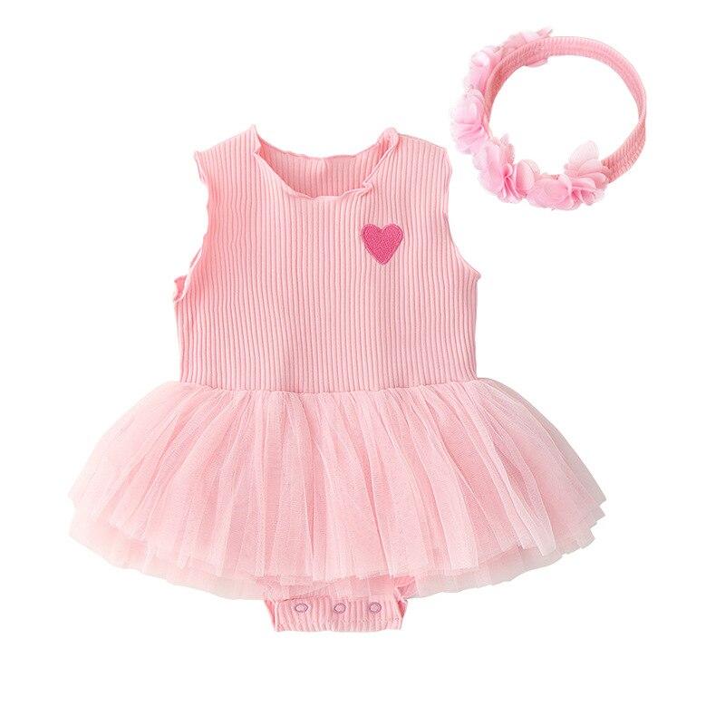 2019 Newborn Baaby Girls Body Suit Dress Infant Girls Summer Sleeveless Lace Clothes Girls Rompers + Headband Set Princess Dress