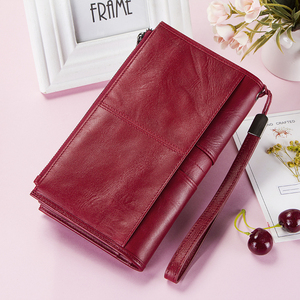 Image 5 - Cellphone Clutch Bag For Ladies Genuine Leather Women Phone Wallets Large Red Zipper Coin Purse Card Holder Trifold Long Wallet