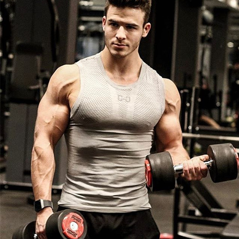 New   Tank     Top   Fitness Men Compression Shirt Clothing Lattice Gasp Bodybuilding Stringer Breathable Casual   Tank     Tops   Jersey