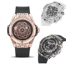 KIMSDUM Men Watches 2019 Luxury Designer Chronograph Watch AAA Transparent Case Waterproof Silicone Wristwatch Relogio Masculino