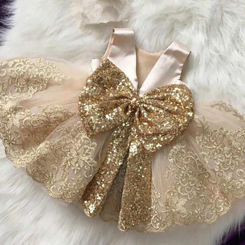 2019 Summer New Spain Girl Princess Dress Sleeveless Bow Sequins Dress For Baby Wedding Party Tutu Gown Dress Vestidos Y1277
