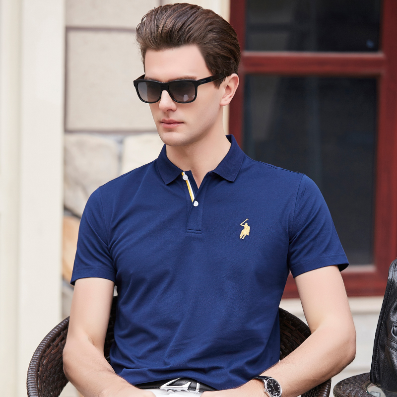 new summer 2018 men's short sleeved   polos   cotton solid color male business   POLO   shirt loose summer tops & tees plus size 3XL