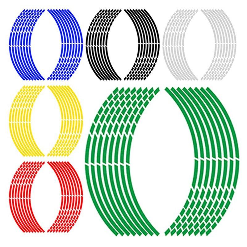 Reflective Tape Car Motorcycle Rim Stripe  Wheel Decal Stickers Car Accessories Car Rim Tape Sticker 16pcs Per Set