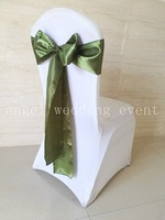 Free Shipping 100pcs Olive Green Satin Sash Chair Sashes 15x275cm Chair Bow Knot For Wedding Party