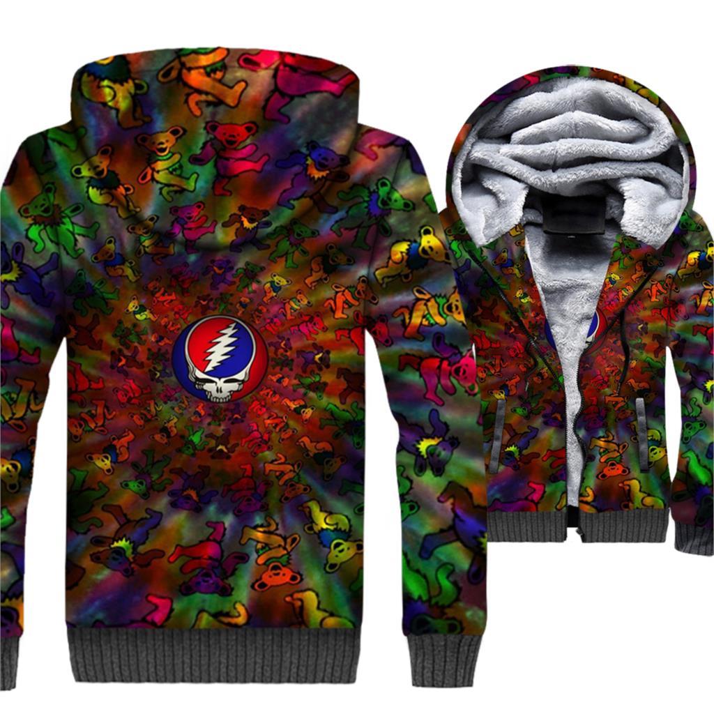 Crâne Balle Veste Pour Hommes Zipper Épais Manteau Top Mâle Couleur Ours Shirts Hip Hop 3D Hommes de Veste Streetwear unisexe Survêtements
