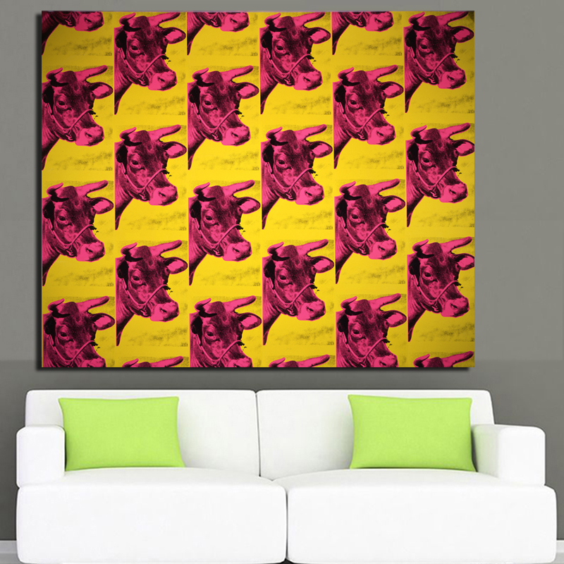 Andy Warhol red Cow 1966 (Yellow and Pink) pop art print Wall ...