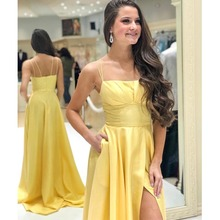 5e089134daba Simple A-line Yellow Prom Dress Spaghetti Straps Long Vestido De Formatura  Front Split Pleats