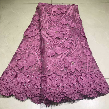 Excellent 3D flower French lace material French net lace fabric with rhinestones for evening dress VRN230(5yards/lot)