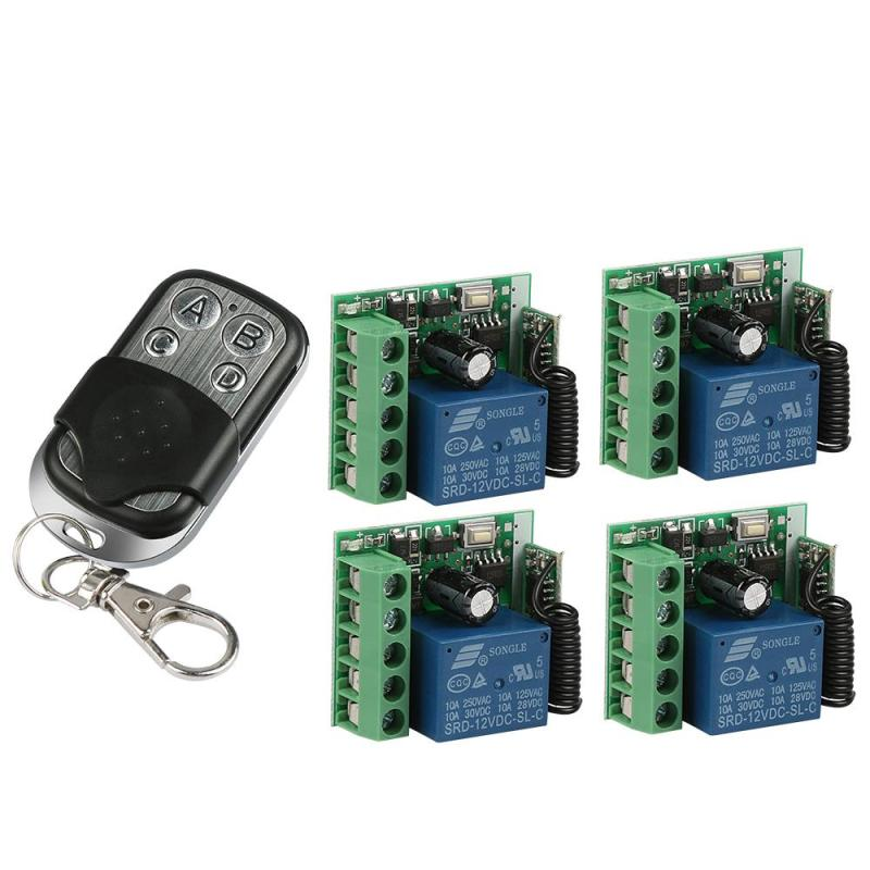 433MHz RF 4-Channel Remote Control Transmitter Learning Code(1527) + 4 Pcs 1-Ch Relay Receiver Module DIY Remote Control System 433 mhz rf 4 channel remote control learning code 1527 transmitter and 2 ch relay receiver module diy wireless garage switch set