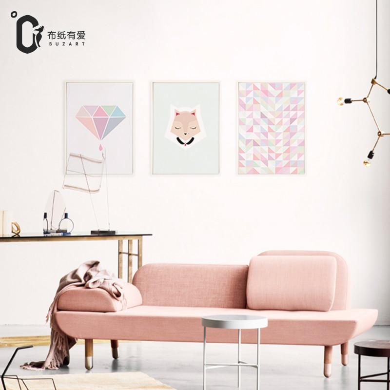 Diamanter 3-tyg tygduk väggkonst Affischer och tryck för barnrum - Heminredning