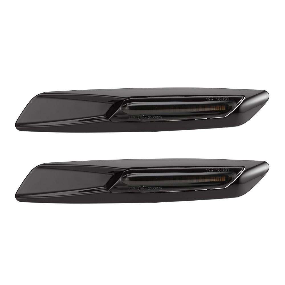2pcs for BMW E60 E61 E90 E91 E81 E82 E87 E88 Dynamic LED Side Marker Light Turn Signal Light Sequential Amber Yellow Fender La