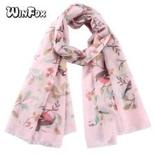 Winfox Elegant Pink White Tree Floral Bird Printed Scarf Women Long Wrap Shawl Female Bufanda Mujer
