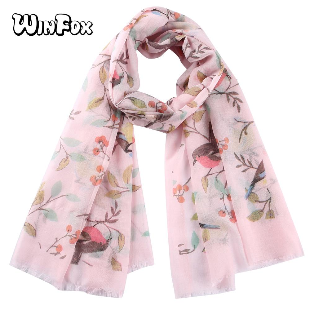 Winfox Elegant Pink White Tree Floral Bird Printed   Scarf   Women Long   Scarf     Wrap   Shawl Female Bufanda Mujer