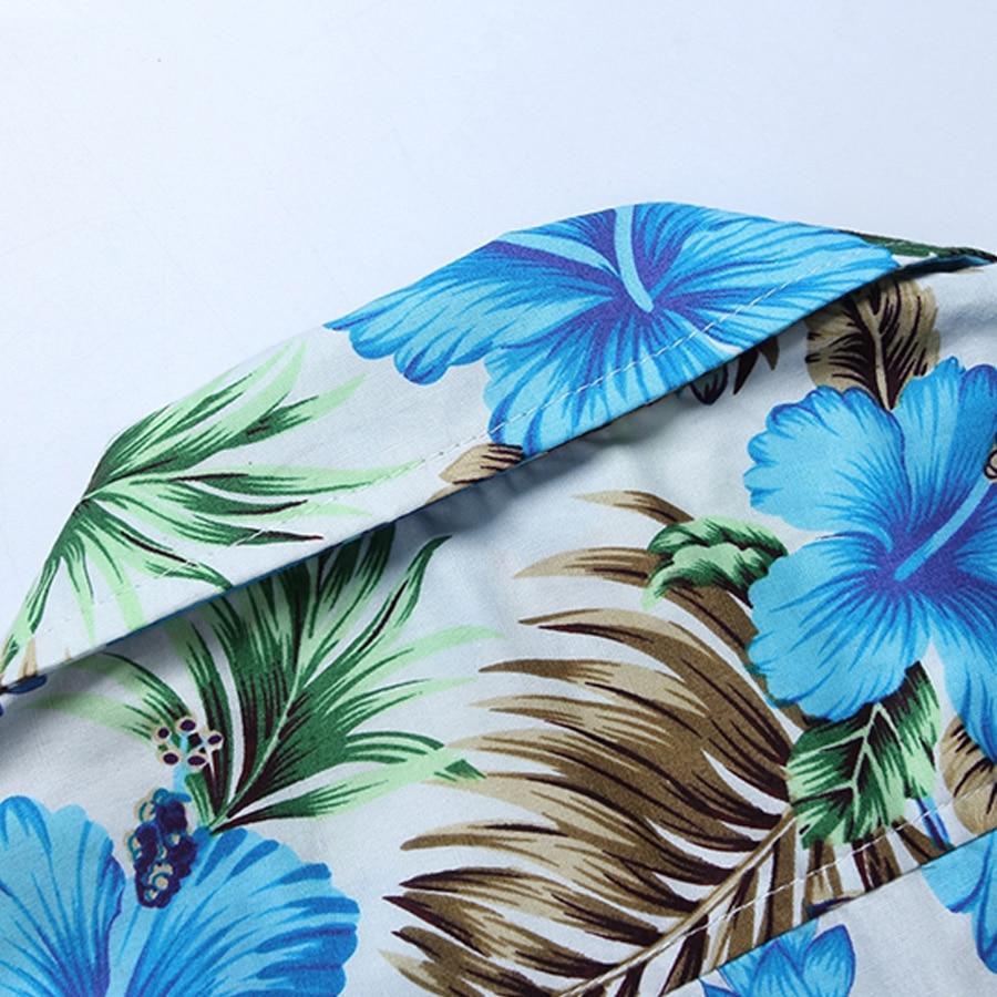 Mens Floral Cotton Shirts Slim Fit Short Sleeve Plus Size M-5XL Dress Casual Blouse Chemise Homme New Arrival Blue S037