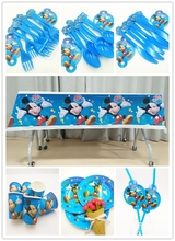 61pcs/set  Mickey Mouse Baby Birthday Party Favors Decorations Tableware Tablecloth Plate Cup Fork Spoon Straws Kids