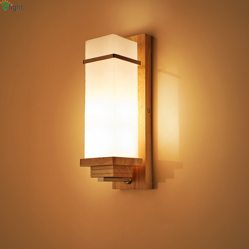 Modern Simple Solid Wood Led Wall Lights Luminaria Lustre Glass Shades Bedroom Led Wall Light Lamparas Led Wall Lamp Fixtures europe retro lustre solid copper led wall lamp luminarias simple fabric shades bedroom led wall lights fixtures foyer wall light