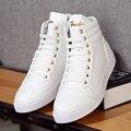 2016 Hombres Zapatos de Tendencia de Moda de Cuero de Alta Top Casual Shoes Pisos A Estrenar Hombre Entrenadores Superstar Basket Calzado Botas De Invierno Negro Blanco
