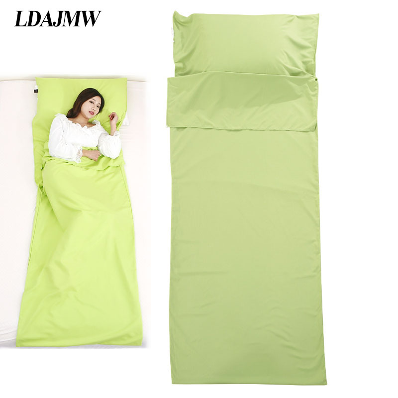 LDAJMW Double/Single Person Hotel Outdoor Four Seasons Portable Cotton Adult Folding Sanitary Sleeping Bag Bed Sheets Pillowcase