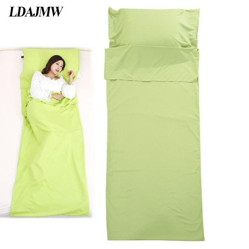LDAJMW Double/Single Person Hotel Outdoor Four Seasons Portable Cotton Adult Folding Sanitary Sleeping Bag Bed Sheets Pillowcase
