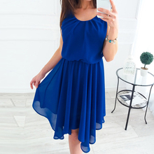 Sexy Women Dresses Round Neck Sleeveless Pleated Mini Dress Elegant Party Clubwearm For Ladies Dreess Summer Beach WS6205P(China)