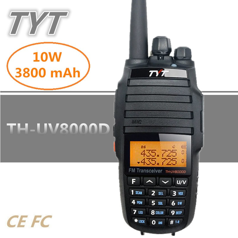 TYT TH UV8000D 10W 3600mAh UHF VHF Dual Band Handheld Radio Transceiver Walkie Talkie 10KM With