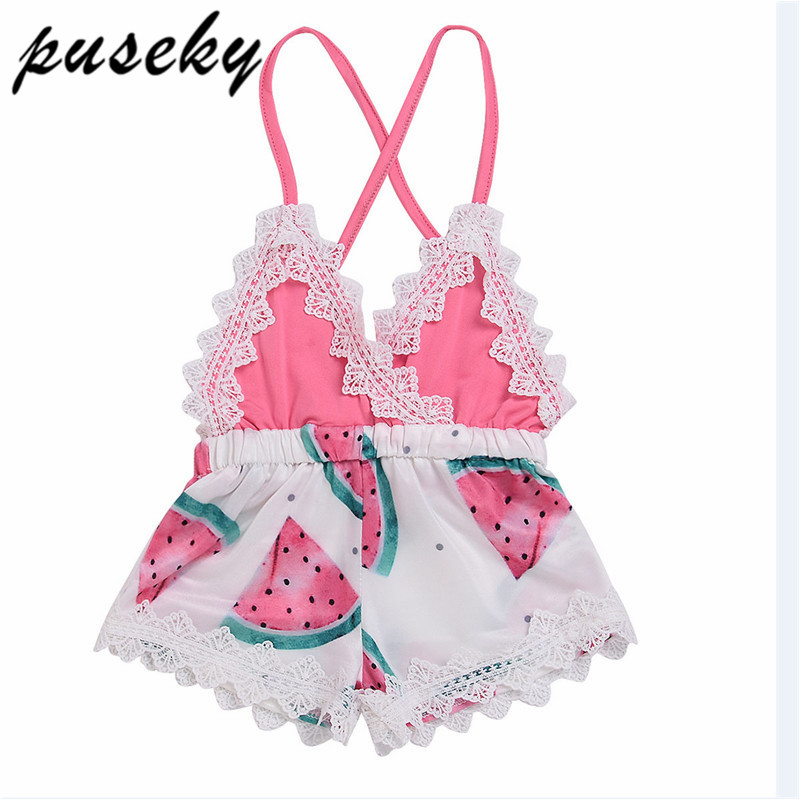 50a3792ab2d Puseky 2018 Baby Rompers Infant Girls Romper Watermelon Print Lace Strap Clothes  Summer Sleeveless Cotton Jumpsuit