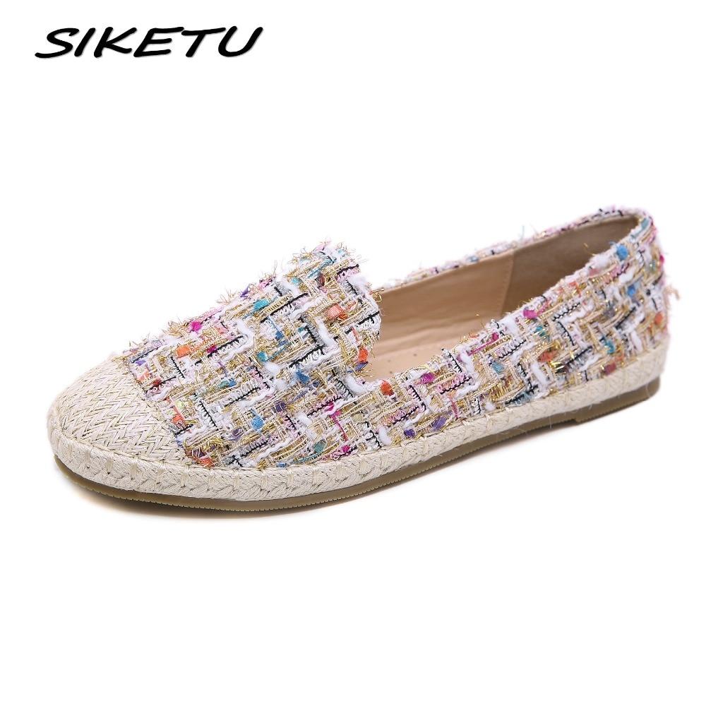 fceba717f6 ... Mulheres Casual Bohemia Planas Preguiçosos Shoes Mulher Dedo Do Pé  Redondo Feminino Calçado Slip on Palha corda de cânhamo Pescadores de Barco  Sapatos