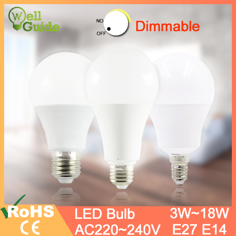 Led Lamp E27 E14 Dimmable Led Bulb Real 20W 18W 15W 12W 9W 5W 3W AC 220V 240V Lampara LED Lamp Aluminum Table Lamp Lamps Light
