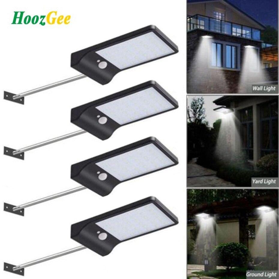 Nice HoozGee Outdoor Wall Lamp Solar Street Light PIR Motion Sensor Garden  Lighting 450LM 36 LED Security Pathway Lights With Stick